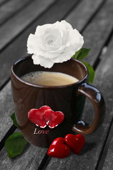 фото утреннего кофе с цветами