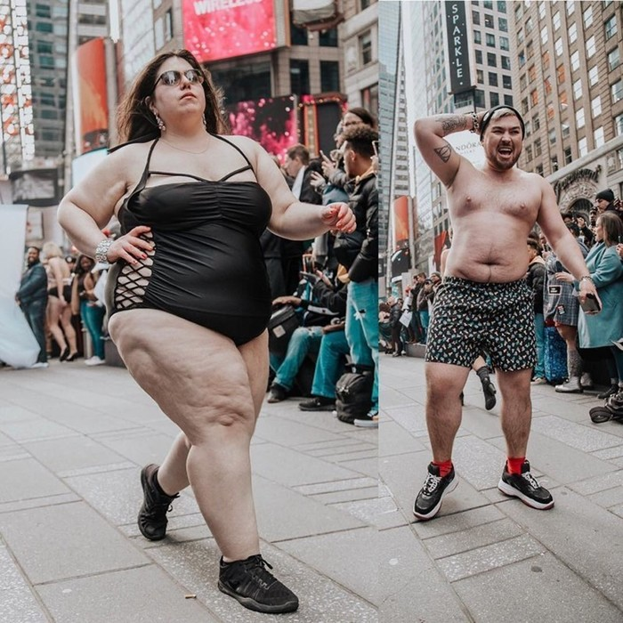 На Манхэттене прошел марш женщин в нижнем белье, а бренд раздел толстушек