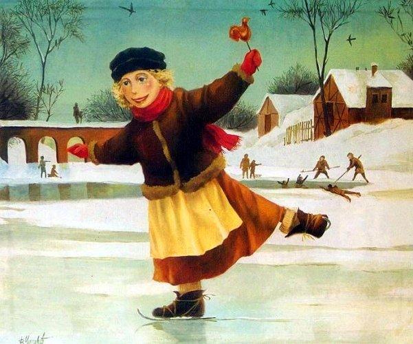Картинки, советская открытка каток