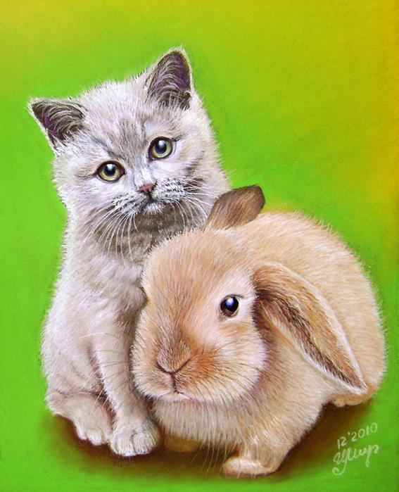 сделать так, картинки зайка и котик вместе этого можно обойти