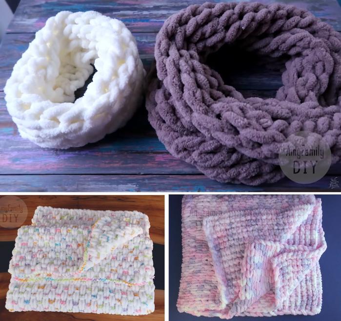 вязание восторг плед подушка снуд без спиц из пряжи Alize Puffy