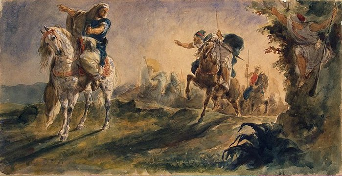 Eugene Delacroix - Arab-Riders-on-Scouting-Mission 1862 (700x361, 78Kb)