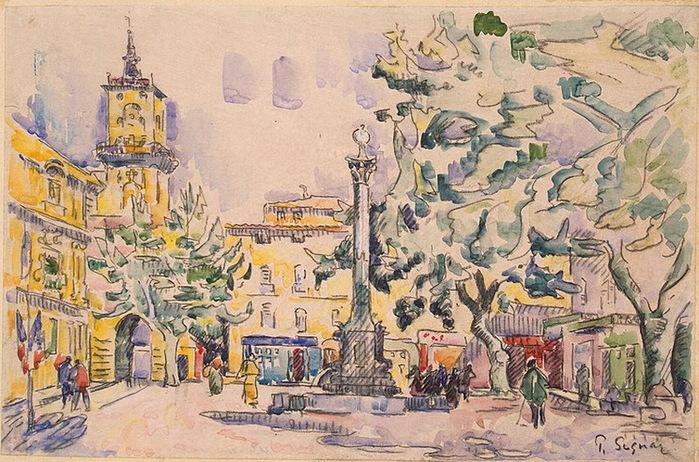 1900-1920-е Square-of-the-Hotel-de-Ville-in-Aix-en-Provence (700x462, 174Kb)