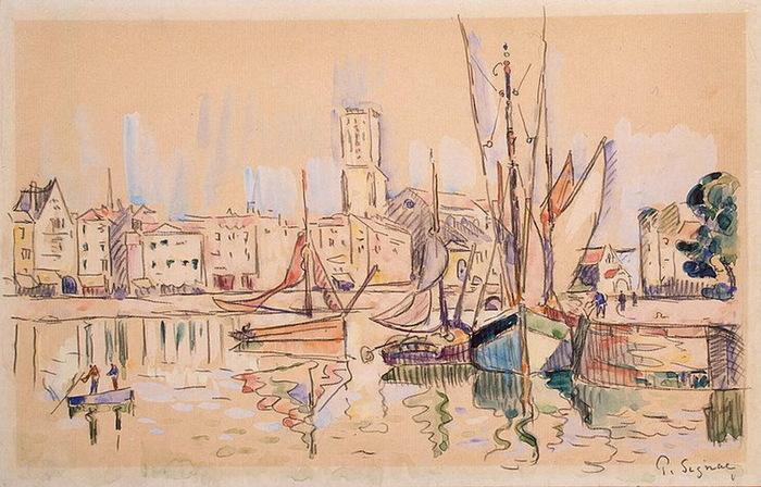 1920 Sailboats-at-a-Pier-in-Honfleur (700x448, 133Kb)