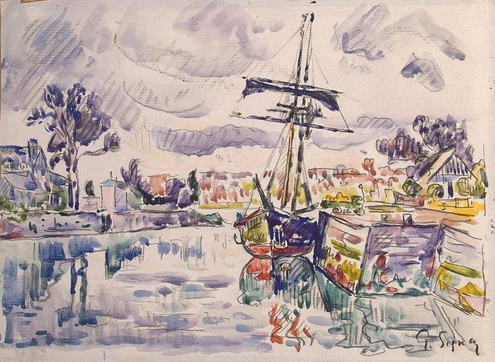 1920-е Sailboat-at-a-Pier (700x512, 176Kb)