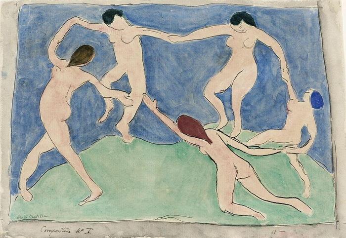 Танец (Композиция № I). Эскиз к панно. Ок. 11 марта 1909.  Бум акв тушь 22,1 х 32 см ГМИИ (700x482, 149Kb)