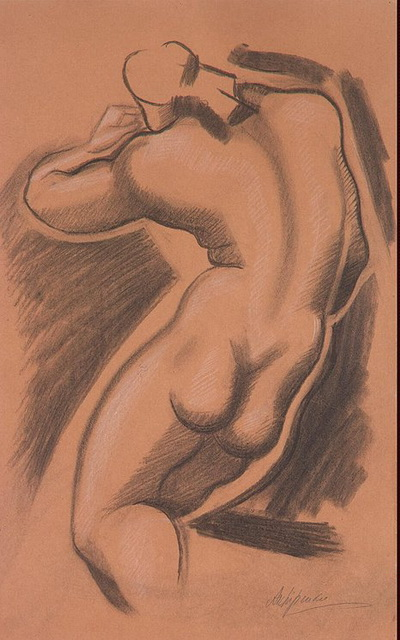 1920-е Nude Female Figure Shown from the Back 2 (400x640, 101Kb)