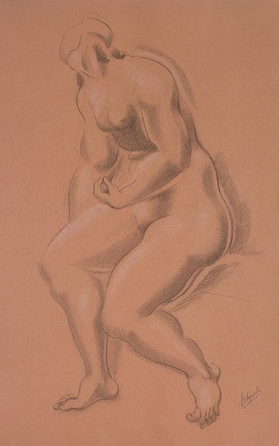 1920-е Seated-Female-Nude-with-Left-Hand-on-Right-Leg (400x640, 74Kb)