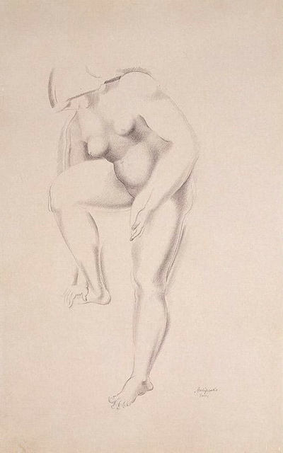 1920-е Standing-Female-Nude-Touching-Right-Foot-with-Fingers (400x640, 58Kb)