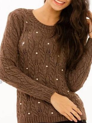 Пуловер с рельефным узором Лист