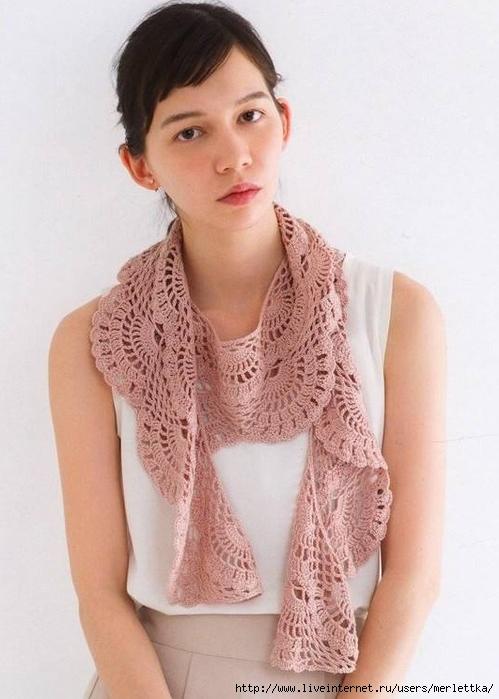d9463b971002 Вязаные шарфы, Ажурный шарф крючком веерками, Японские схемы вязания.  Обсуждение на LiveInternet - Российский Сервис Онлайн-Дневников