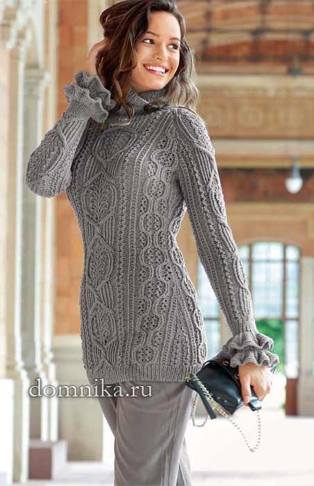 Длинный пуловер реглан с красивыми узорами