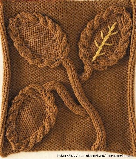 Модульное вязание на спицах. Узор «Ветка с листьями»