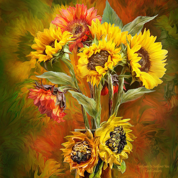 sunflowers-in-sunflower-vase-square-carol-cavalaris (700x700, 750Kb)