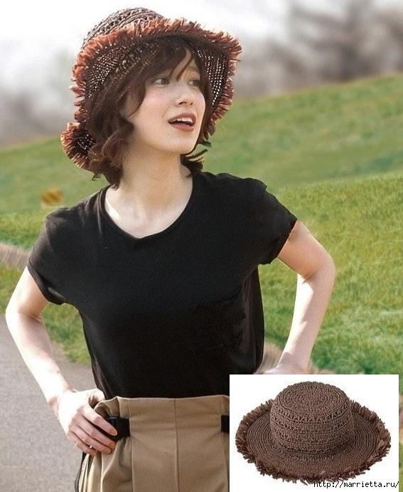 Летняя шляпка крючком со схемой для вязания