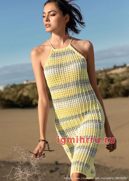 Открытое летнее платье в полоску — оригинально и стильно
