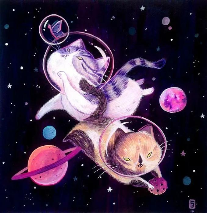 Открытки на тему космос и кошки