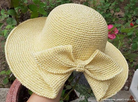 Шикарная шляпка с цельно вязанным бантом крючком