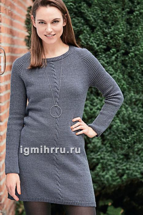 Платье с косой по центру спинки и переда. Вязание спицами