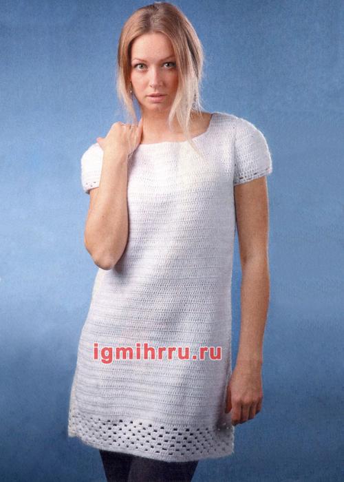 Белое платье с ажурной каймой. Вязание крючком