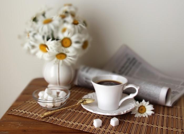 фото чашечки кофе и ромашки на столе рисуем