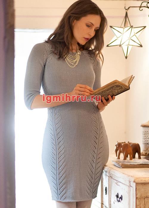 Серое облегающее платье из шерстяной пряжи. Вязание спицами