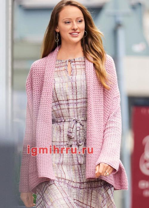 Розовый теплый кардиган с цельнокроеным воротником и карманами. Вязание крючком