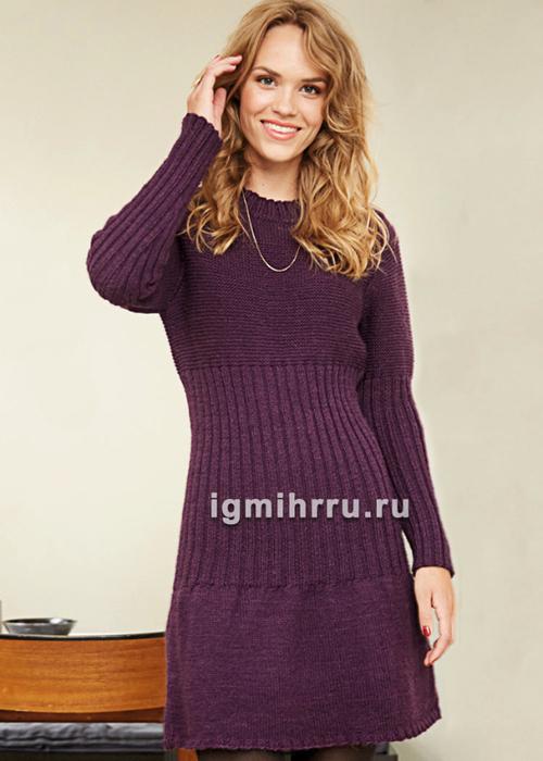 Теплое платье с широкой резинкой по линии талии. Вязание спицами