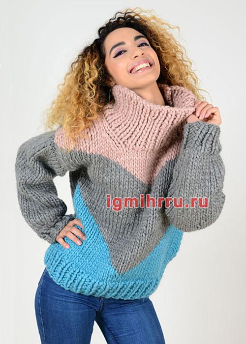 Трехцветный свитер крупной вязки. Вязание спицами