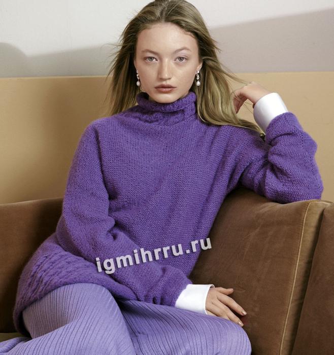 Теплый мягкий свитер с отделкой из кос. Вязание спицами