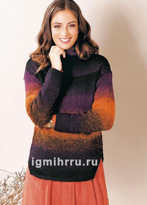 Пуловер простой вязки из пряжи секционного крашения. Вязание спицами