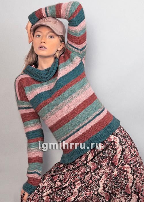 Теплый пуловер со структурным узором в полоску. Вязание спицами