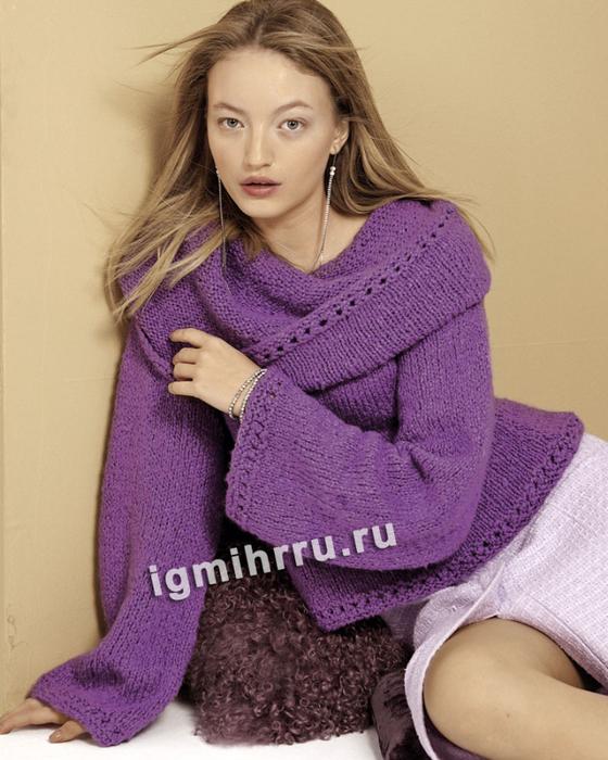 Пуловер с объемным воротником и широкими прямыми рукавами. Вязание спицами