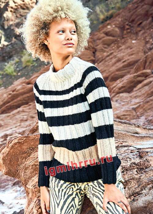 Трехцветный пуловер в полоску. Вязание спицами