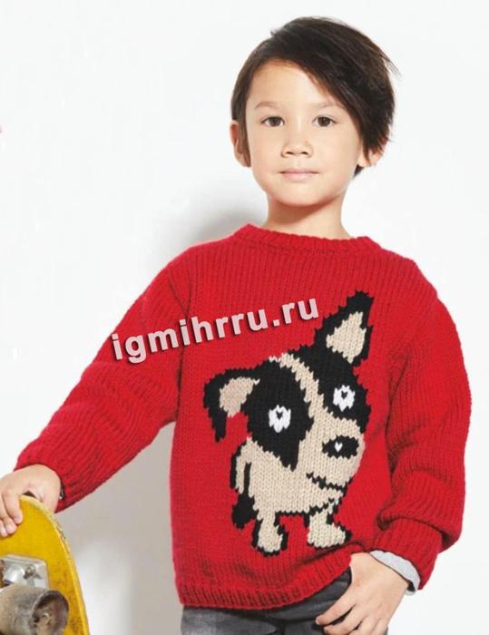 Для мальчика 2-10 лет. Пуловер с мотивом Щенок. Вязание спицами