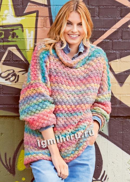 Разноцветный пуловер с каракулевым узором. Вязание спицами