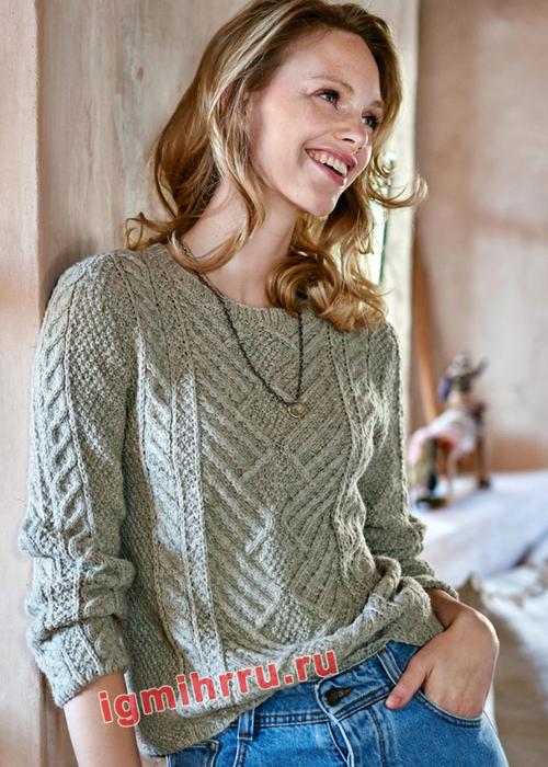 Серый пуловер с выразительной комбинацией узоров. Вязание спицами