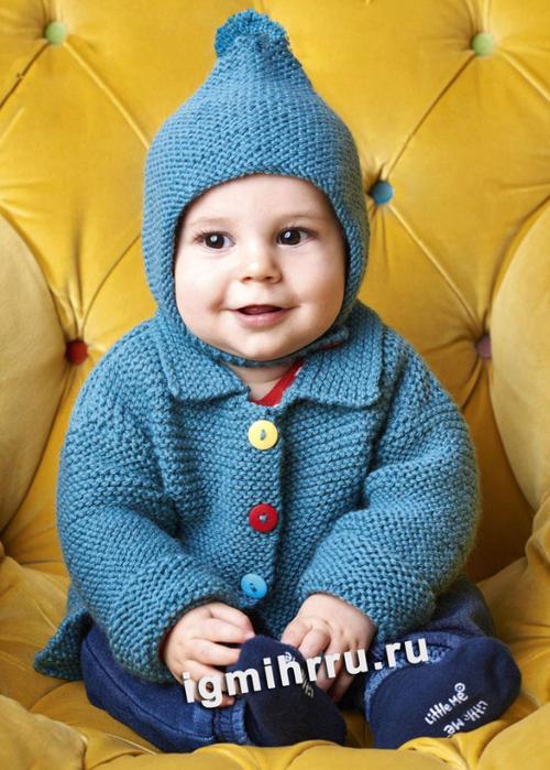 Для малышей: жакет с застежкой на цветные пуговицы и шапочка с помпоном. Вязание спицами