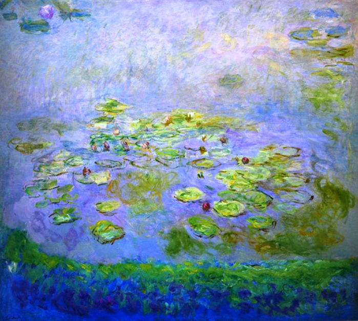 74 Claude Monet - Nymphéas (Waterlilies), c.1914-17. Oil on canvas, 181 x 201.6 cm. National Gallery of Australia (NGA), Canberra, Australia (700x628, 546Kb)