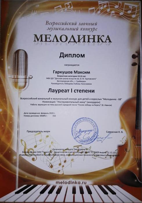 Диплом Максима Гаркушова