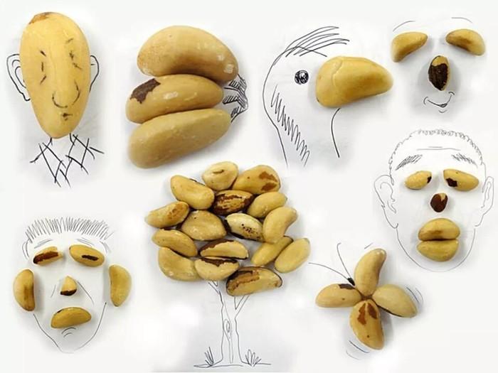 Рисунки из еды и подручных предметов