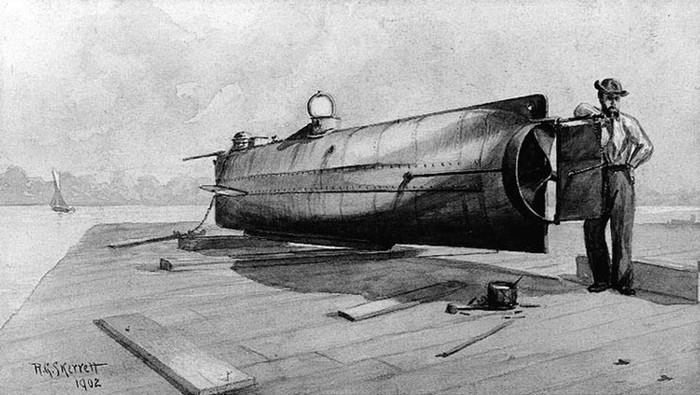 Первая в мире боевая подводная лодка