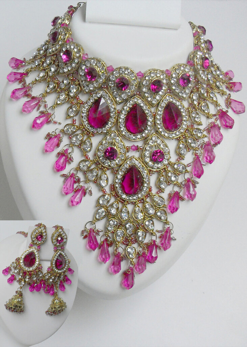 Natural-Diamond-maroon-Stone-with-pink-Crystal-Polki-Necklace-Set[1] (499x700, 432Kb)
