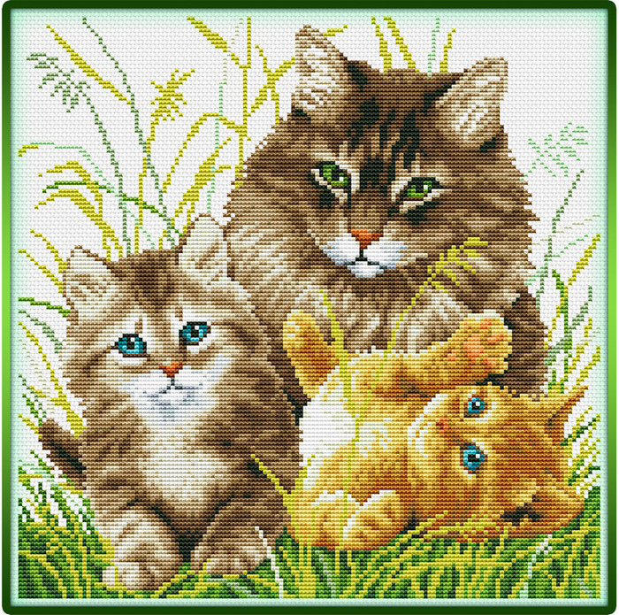 Cat Family (700x695, 891Kb)