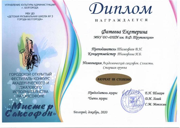 Диплом Екатерины Фатеевой