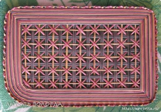 Плетение из газет. Мастер-класс на крышку с цветным узором из трубочек (1) (520x360, 174Kb)