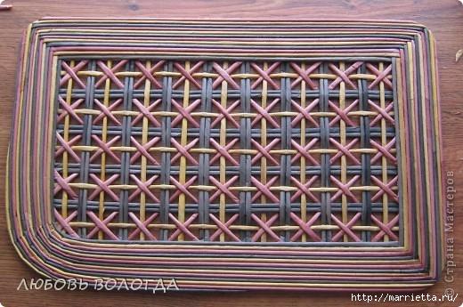 Плетение из газет. Мастер-класс на крышку с цветным узором из трубочек (15) (520x345, 163Kb)