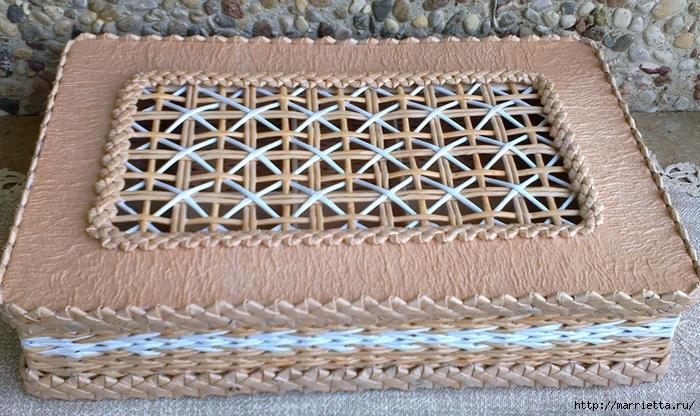 Плетение из газет. Мастер-класс на крышку с цветным узором из трубочек (31) (700x416, 334Kb)