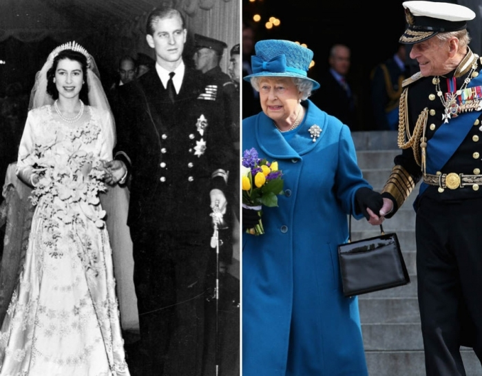 Queen Elizabeth II and The Duke of Edinburgh pictured on their wedding day 1947 and earlier this year.