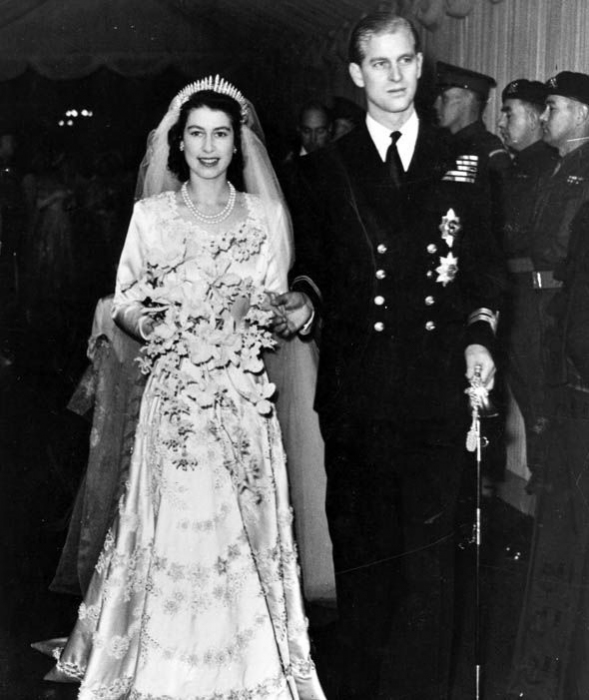 Queen Elizabeth II, as Princess Elizabeth, and her husband the Duke of Edinburgh, on their wedding day in 1947.
